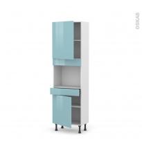 Colonne de cuisine N°2156 - Four encastrable niche 45  - KERIA Bleu - 2 portes 1 tiroir - L60 x H195 x P37 cm