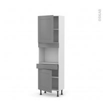 Colonne de cuisine N°2156 - Four encastrable niche 45  - FILIPEN Gris - 2 portes 1 tiroir - L60 x H195 x P37 cm