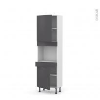 Colonne de cuisine N°2156 - Four encastrable niche 45  - GINKO Gris - 2 portes 1 tiroir - L60 x H195 x P37 cm