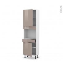 Colonne de cuisine N°2156 - Four encastrable niche 45  - KERIA Moka - 2 portes 1 tiroir - L60 x H195 x P37 cm