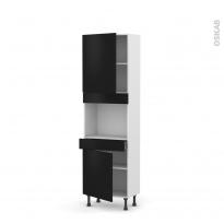 Colonne de cuisine N°2156 - Four encastrable niche 45  - GINKO Noir - 2 portes 1 tiroir - L60 x H195 x P37 cm