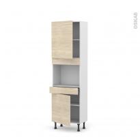 Colonne de cuisine N°2156 - Four encastrable niche 45  - STILO Noyer Blanchi - 2 portes 1 tiroir - L60 x H195 x P37 cm