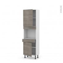 Colonne de cuisine N°2156 - Four encastrable niche 45  - STILO Noyer Naturel - 2 portes 1 tiroir - L60 x H195 x P37 cm