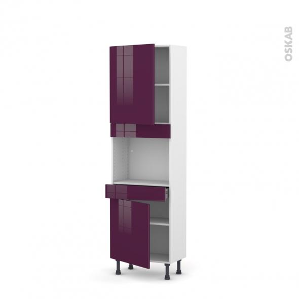 Colonne de cuisine N°2156 - Four encastrable niche 45 - KERIA Aubergine - 2 portes 1 tiroir - L60 x H195 x P37 cm