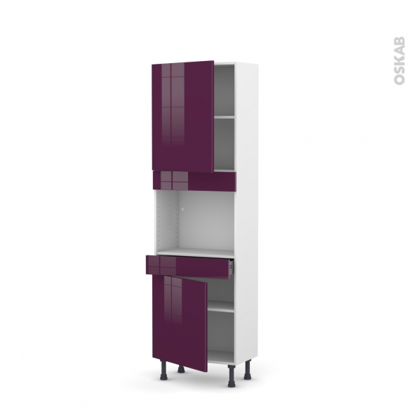KERIA Aubergine - Colonne Four niche 45 N°2156  - Prof.37  2 portes 1 tiroir - L60xH195xP37