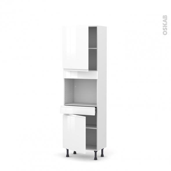 Colonne de cuisine N°2156 - Four encastrable niche 45  - IPOMA Blanc brillant - 2 portes 1 tiroir - L60 x H195 x P37 cm