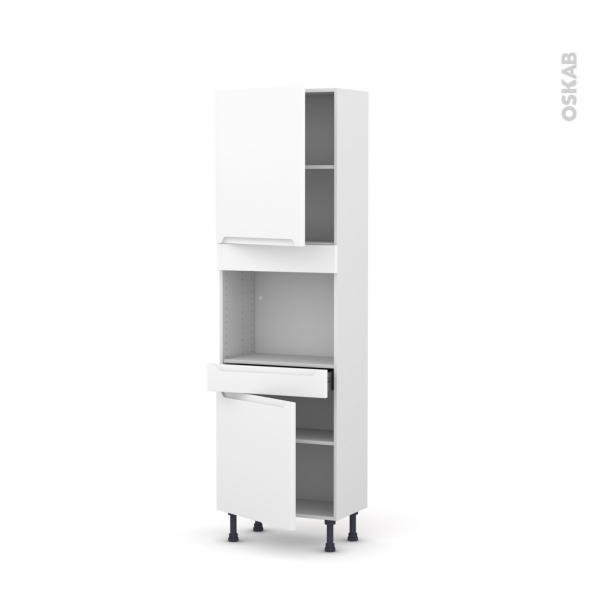 Colonne de cuisine N°2156 - Four encastrable niche 45  - PIMA Blanc - 2 portes 1 tiroir - L60 x H195 x P37 cm