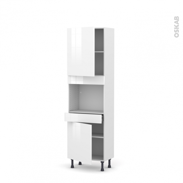 STECIA Blanc - Colonne Four niche 45 N°2156  - Prof.37  2 portes 1 tiroir - L60xH195xP37