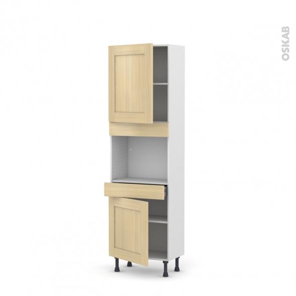 BASILIT Bois Vernis - Colonne Four niche 45 N°2156  - Prof.37  2 portes 1 tiroir - L60xH195xP37