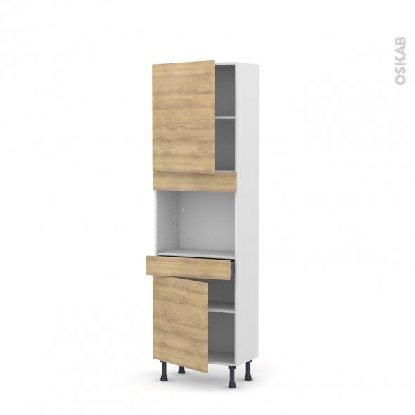 Colonne de cuisine N°2156 - Four encastrable niche 45  - HOSTA Chêne naturel - 2 portes 1 tiroir - L60 x H195 x P37 cm