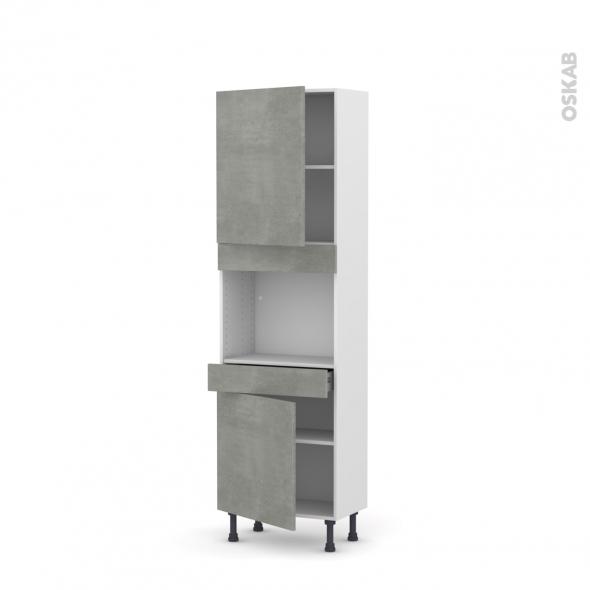 Colonne de cuisine N°2156 - Four encastrable niche 45  - FAKTO Béton - 2 portes 1 tiroir - L60 x H195 x P37 cm