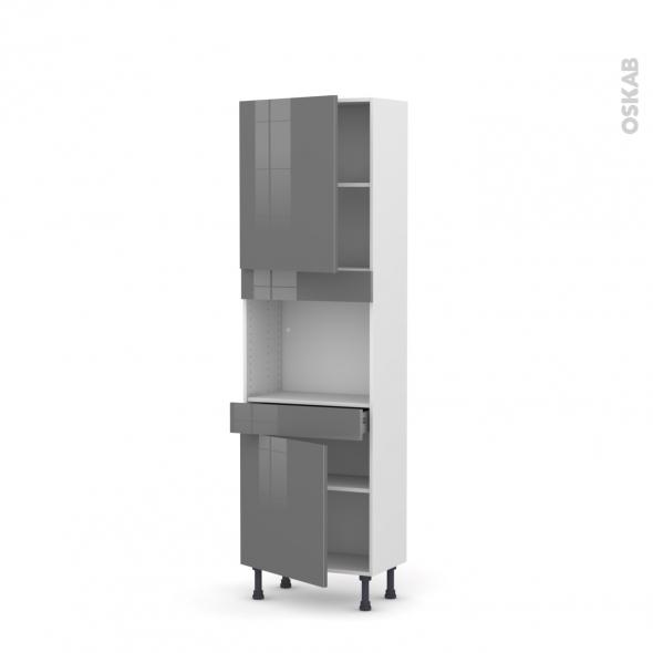 Colonne de cuisine N°2156 - Four encastrable niche 45  - STECIA Gris - 2 portes 1 tiroir - L60 x H195 x P37 cm