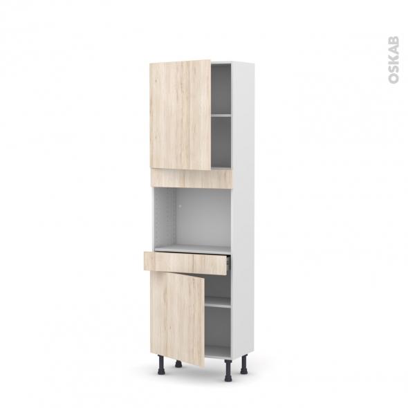 Colonne de cuisine N°2156 - Four encastrable niche 45  - IKORO Chêne clair - 2 portes 1 tiroir - L60 x H195 x P37 cm