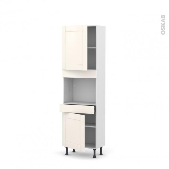 Colonne de cuisine N°2156 - Four encastrable niche 45  - FILIPEN Ivoire - 2 portes 1 tiroir - L60 x H195 x P37 cm