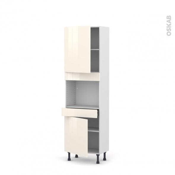 Colonne de cuisine N°2156 - Four encastrable niche 45  - KERIA Ivoire - 2 portes 1 tiroir - L60 x H195 x P37 cm