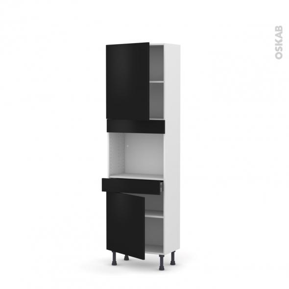 GINKO Noir - Colonne Four niche 45 N°2156  - Prof.37  2 portes 1 tiroir - L60xH195xP37