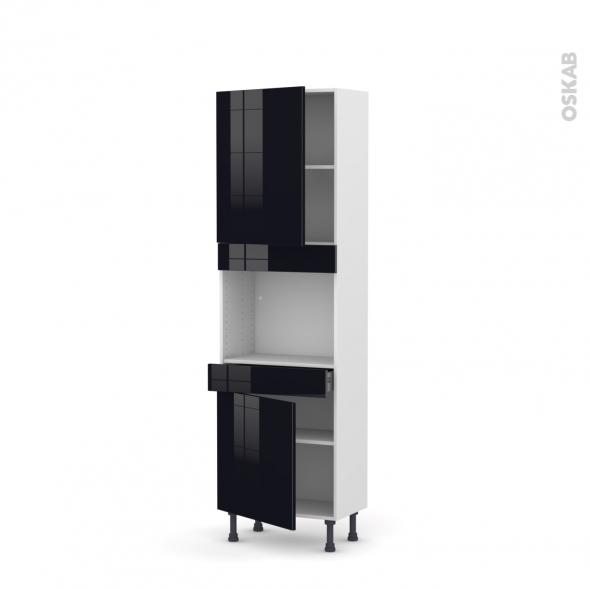 Colonne de cuisine N°2156 - Four encastrable niche 45  - KERIA Noir - 2 portes 1 tiroir - L60 x H195 x P37 cm