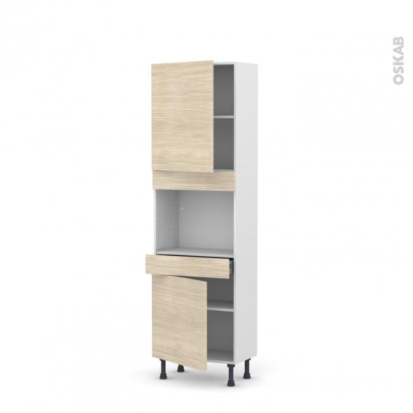 STILO Noyer Blanchi - Colonne Four niche 45 N°2156  - Prof.37  2 portes 1 tiroir - L60xH195xP37