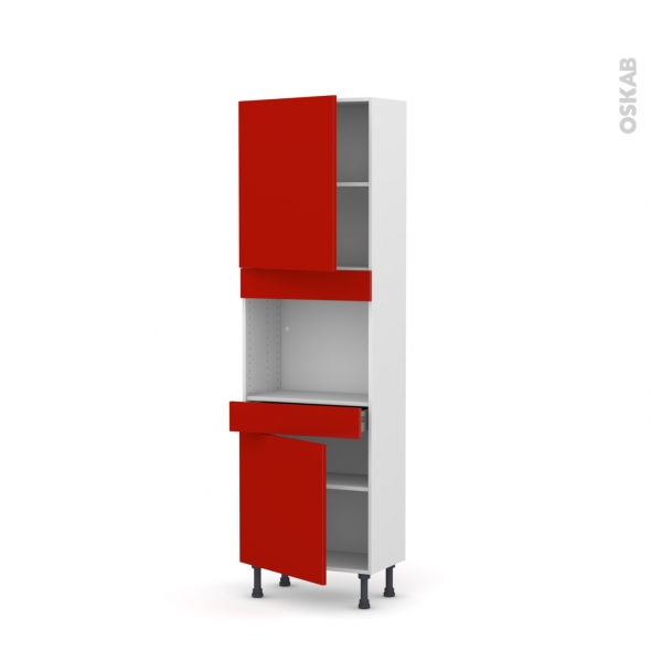 GINKO Rouge - Colonne Four niche 45 N°2156  - Prof.37  2 portes 1 tiroir - L60xH195xP37