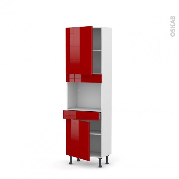 Colonne de cuisine N°2156 - Four encastrable niche 45  - STECIA Rouge - 2 portes 1 tiroir - L60 x H195 x P37 cm