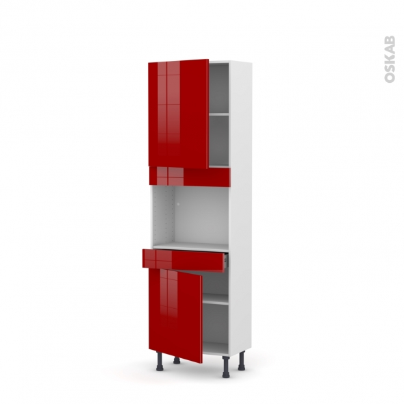 STECIA Rouge - Colonne Four niche 45 N°2156  - Prof.37  2 portes 1 tiroir - L60xH195xP37