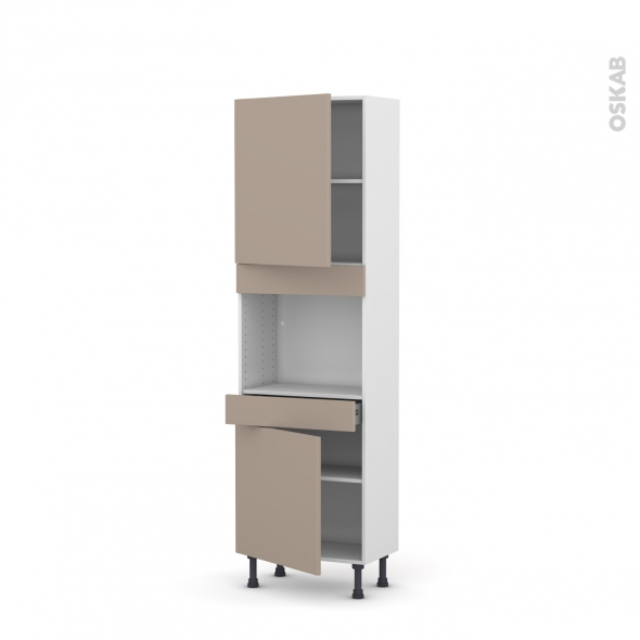 Colonne de cuisine N°2156 - Four encastrable niche 45 - GINKO Taupe - 2 portes 1 tiroir - L60 x H195 x P37 cm