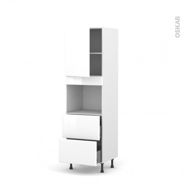 Colonne de cuisine N°2157 - Four encastrable niche 45  - IRIS Blanc - 1 porte 2 casseroliers - L60 x H195 x P58 cm
