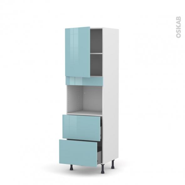 Colonne de cuisine N°2157 - Four encastrable niche 45  - KERIA Bleu - 1 porte 2 casseroliers - L60 x H195 x P58 cm