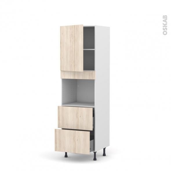 Colonne de cuisine N°2157 - Four encastrable niche 45  - IKORO Chêne clair - 1 porte 2 casseroliers - L60 x H195 x P58 cm