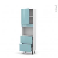 Colonne de cuisine N°2157 - Four encastrable niche 45  - KERIA Bleu - 1 porte 2 casseroliers - L60 x H195 x P37 cm