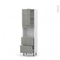 Colonne de cuisine N°2157 - Four encastrable niche 45  - FAKTO Béton - 1 porte 2 casseroliers - L60 x H195 x P37 cm