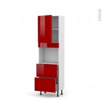 Colonne de cuisine N°2157 - Four encastrable niche 45  - STECIA Rouge - 1 porte 2 casseroliers - L60 x H195 x P37 cm