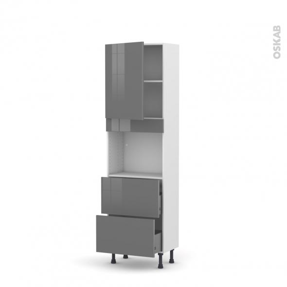 Colonne de cuisine N°2157 - Four encastrable niche 45  - STECIA Gris - 1 porte 2 casseroliers - L60 x H195 x P37 cm