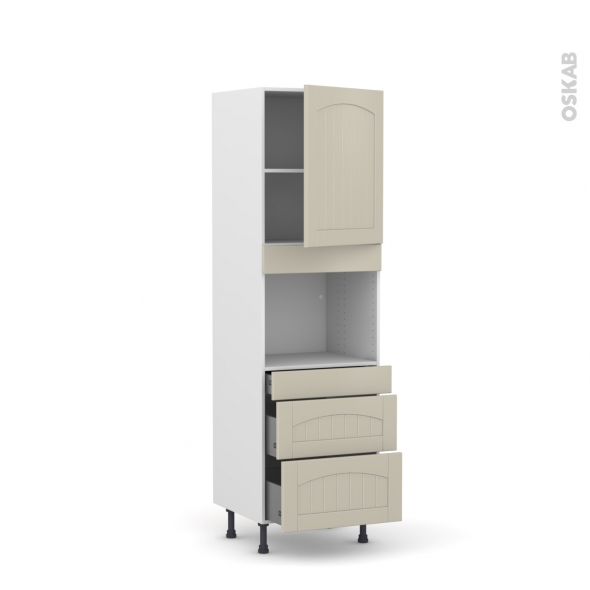 SILEN Argile - Colonne Four niche 45 N°2158  - 1 porte 3 tiroirs - L60xH195xP58 - droite