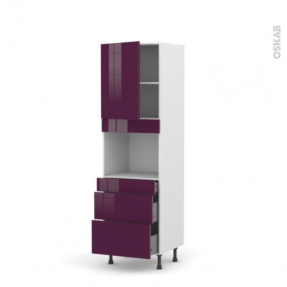 Colonne de cuisine N°2158 - Four encastrable niche 45 - KERIA Aubergine - 1 porte 3 tiroirs - L60 x H195 x P58 cm