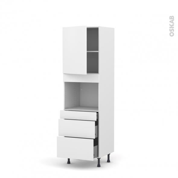 Colonne de cuisine N°2158 - Four encastrable niche 45  - GINKO Blanc - 1 porte 3 tiroirs - L60 x H195 x P58 cm