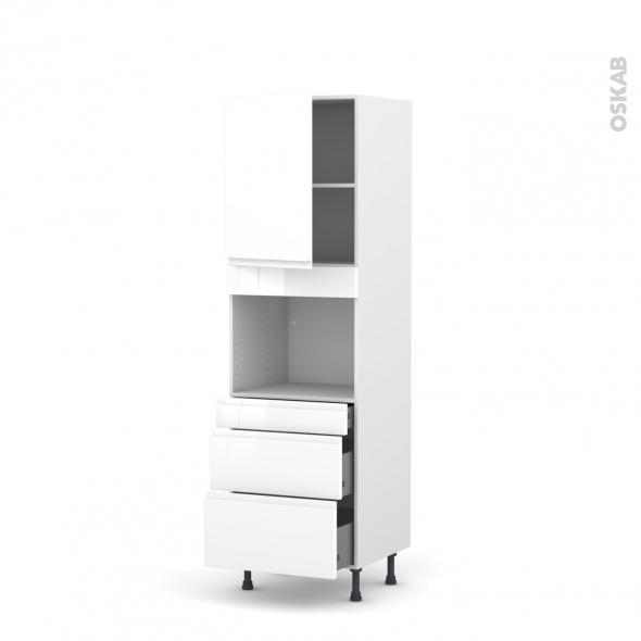 Colonne de cuisine N°2158 - Four encastrable niche 45  - IPOMA Blanc - 1 porte 3 tiroirs - L60 x H195 x P58 cm