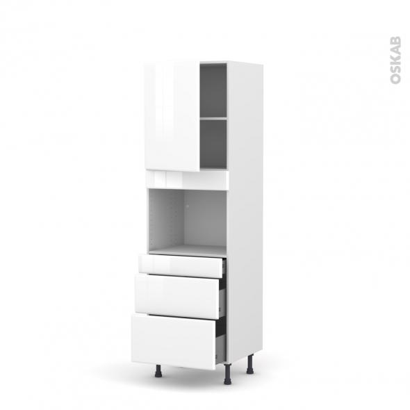Colonne de cuisine N°2158 - Four encastrable niche 45  - IRIS Blanc - 1 porte 3 tiroirs - L60 x H195 x P58 cm