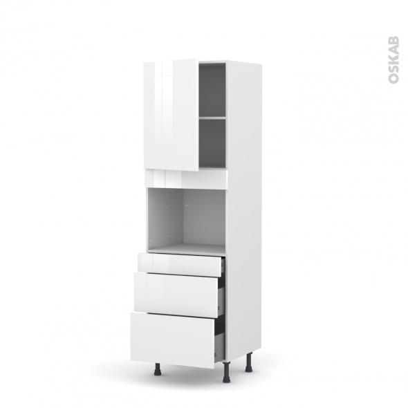 STECIA Blanc - Colonne Four niche 45 N°2158  - 1 porte 3 tiroirs - L60xH195xP58