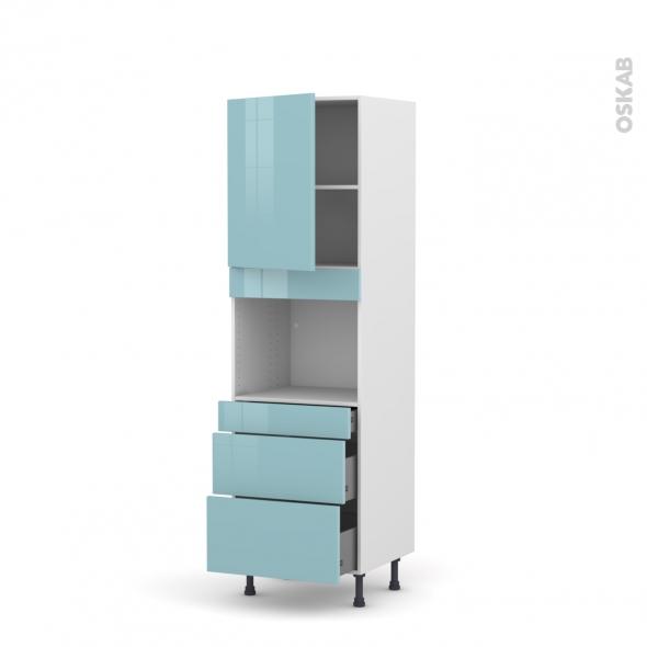 Colonne de cuisine N°2158 - Four encastrable niche 45  - KERIA Bleu - 1 porte 3 tiroirs - L60 x H195 x P58 cm