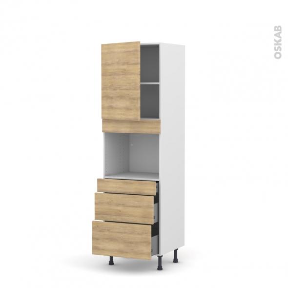 Colonne de cuisine N°2158 - Four encastrable niche 45  - HOSTA Chêne naturel - 1 porte 3 tiroirs - L60 x H195 x P58 cm