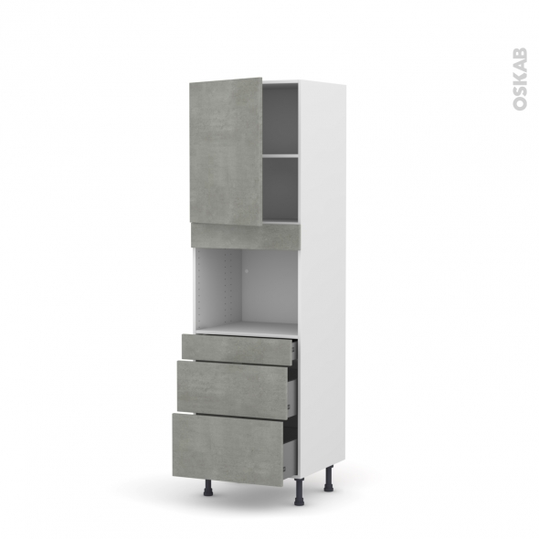 Colonne de cuisine N°2158 - Four encastrable niche 45  - FAKTO Béton - 1 porte 3 tiroirs - L60 x H195 x P58 cm