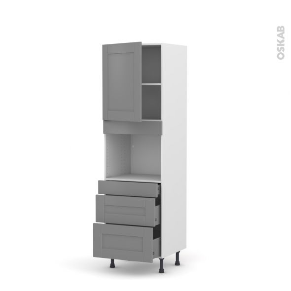 Colonne de cuisine N°2158 - Four encastrable niche 45  - FILIPEN Gris - 1 porte 3 tiroirs - L60 x H195 x P58 cm