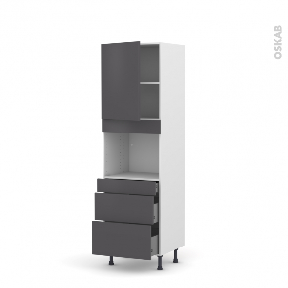 Colonne de cuisine N°2158 - Four encastrable niche 45  - GINKO Gris - 1 porte 3 tiroirs - L60 x H195 x P58 cm