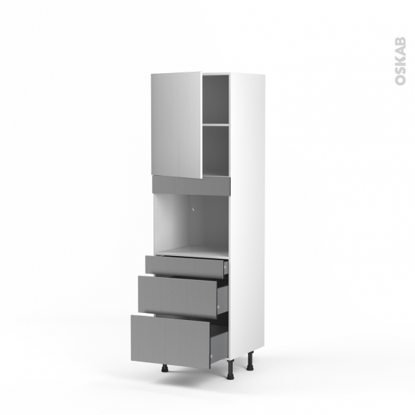 STILO Inox - Colonne Four niche 45 N°2158  - 1 porte 3 tiroirs - L60xH195xP58