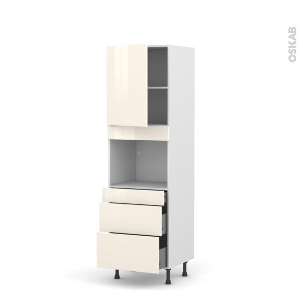 Colonne de cuisine N°2158 - Four encastrable niche 45  - KERIA Ivoire - 1 porte 3 tiroirs - L60 x H195 x P58 cm