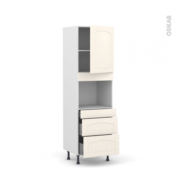 SILEN Ivoire - Colonne Four niche 45 N°2158  - 1 porte 3 tiroirs - L60xH195xP58 - droite