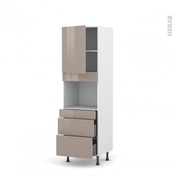 Colonne de cuisine N°2158 - Four encastrable niche 45  - KERIA Moka - 1 porte 3 tiroirs - L60 x H195 x P58 cm