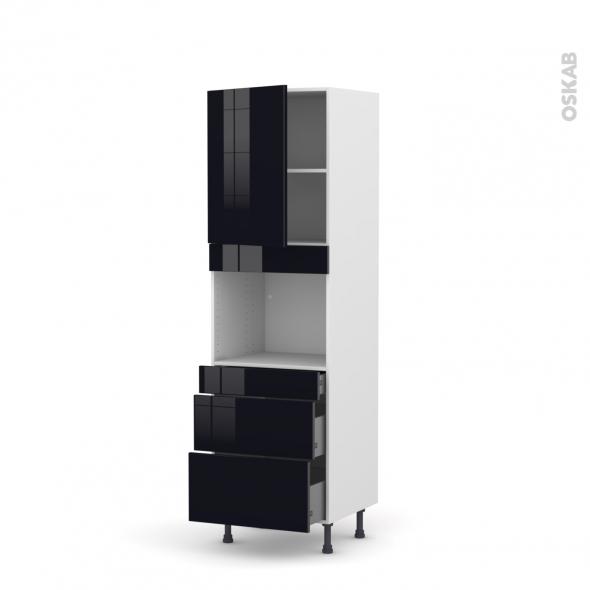 Colonne de cuisine N°2158 - Four encastrable niche 45  - KERIA Noir - 1 porte 3 tiroirs - L60 x H195 x P58 cm