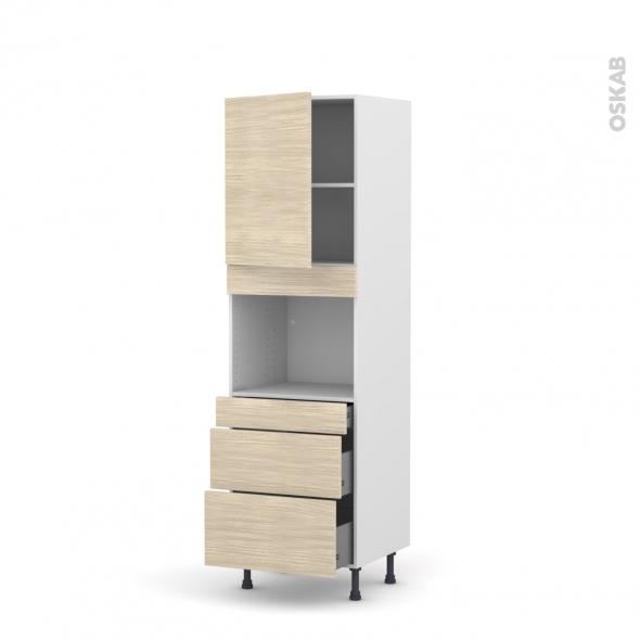 Colonne de cuisine N°2158 - Four encastrable niche 45  - STILO Noyer Blanchi - 1 porte 3 tiroirs - L60 x H195 x P58 cm